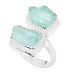 11.66cts natural aqua aquamarine rough 925 sterling silver ring size 7 p63540
