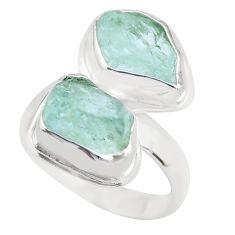 10.78cts natural aqua aquamarine rough 925 sterling silver ring size 7 p63673