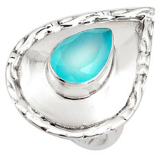 3.91cts natural aqua chalcedony 925 silver solitaire ring jewelry size 8 p85827
