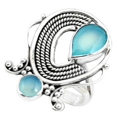 5.41cts natural aqua chalcedony 925 sterling silver ring jewelry size 8 p61352