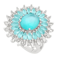 13.55cts natural aqua chalcedony topaz 925 sterling silver ring size 1 5/8 c1995