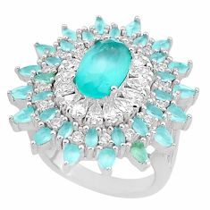 11.21cts natural aqua chalcedony topaz 925 sterling silver ring size 7 c1983