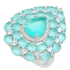 13.87cts natural aqua chalcedony topaz 925 sterling silver ring size 7 c1989