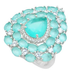 14.22cts natural aqua chalcedony topaz 925 sterling silver ring size 7 c1990