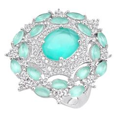 12.83cts natural aqua chalcedony topaz 925 sterling silver ring size 7 c1994