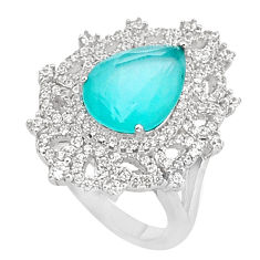10.38cts natural aqua chalcedony topaz 925 sterling silver ring size 7 c2037