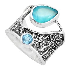 5.78cts natural aqua chalcedony topaz 925 sterling silver ring size 6.5 p61123