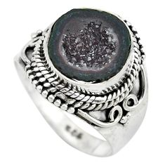 5.63cts natural black geode druzy 925 silver solitaire ring size 8 p61526