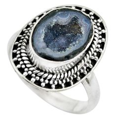5.63cts natural black geode druzy 925 silver solitaire ring size 7.5 p61527