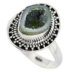5.11cts natural black geode druzy 925 silver solitaire ring size 8 p61530
