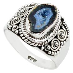 3.75cts natural black geode druzy 925 silver solitaire ring size 7 p74882