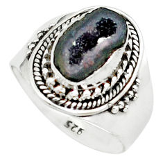 4.02cts natural black geode druzy 925 silver solitaire ring size 7.5 p74887