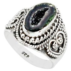 3.90cts natural black geode druzy 925 silver solitaire ring size 7 p74888