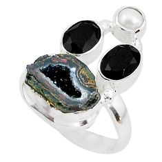 7.97cts natural black geode druzy onyx 925 sterling silver ring size 7 p52555