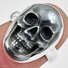 11.44cts natural black hematite 925 silver skull solitaire ring size 6 p88246