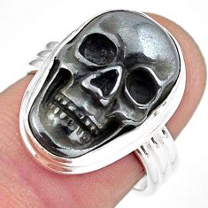 12.71cts natural black hematite 925 silver skull solitaire ring size 7 p88247