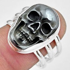 12.11cts natural black hematite 925 silver skull solitaire ring size 8.5 p88248