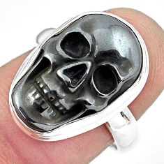 11.89cts natural black hematite 925 silver skull solitaire ring size 7 p88250