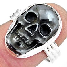 13.05cts natural black hematite 925 silver skull solitaire ring size 8 p88251