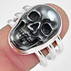 13.22cts natural black hematite 925 silver skull solitaire ring size 8.5 p88252