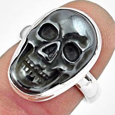 12.71cts natural black hematite 925 silver skull solitaire ring size 7 p88255