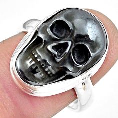 12.33cts natural black hematite 925 silver skull solitaire ring size 8 p88256