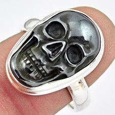 11.65cts natural black hematite 925 silver skull solitaire ring size 8 p88258