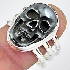 12.39cts natural black hematite 925 silver skull solitaire ring size 9 p88259