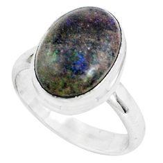 6.28cts natural black honduran matrix opal 925 silver ring size 7.5 p46673