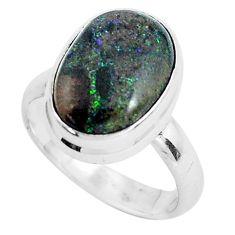 6.36cts natural black honduran matrix opal 925 silver ring size 6.5 p46696