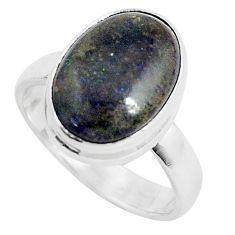5.06cts natural black honduran matrix opal 925 silver ring size 7 p46700