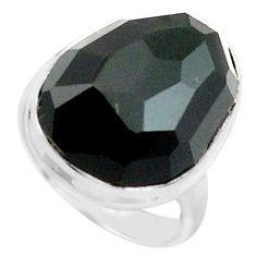 14.72cts natural black obsidian eye 925 silver solitaire ring size 6 p74863