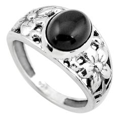 3.52cts natural black onyx 925 silver flower solitaire ring size 7 p55824