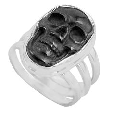 9.72cts natural black onyx 925 silver skull solitaire ring jewelry size 7 p88185