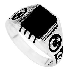 4.21cts natural black onyx 925 sterling silver mens ring jewelry size 11.5 c2951
