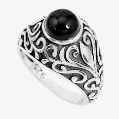 2.34cts natural black onyx 925 sterling silver solitaire ring size 7 p36063