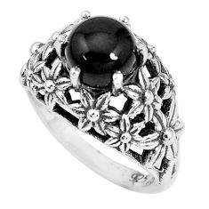 3.41cts natural black onyx 925 sterling silver solitaire ring size 7 p36065