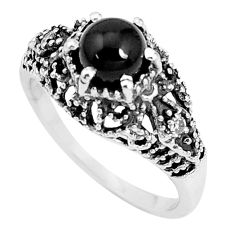 1.48cts natural black onyx 925 sterling silver solitaire ring size 9 p36092
