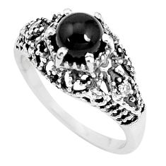 1.48cts natural black onyx 925 sterling silver solitaire ring size 7 p36102