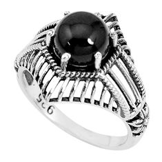3.19cts natural black onyx 925 sterling silver solitaire ring size 8 p36163
