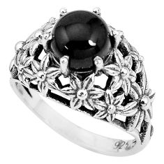 3.24cts natural black onyx 925 sterling silver solitaire ring size 8 p36225