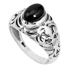 1.96cts natural black onyx 925 sterling silver solitaire ring size 8 p36249