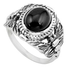 4.21cts natural black onyx 925 sterling silver solitaire ring size 7 p55790