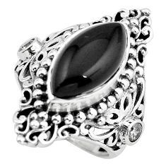 9.47cts natural black onyx 925 sterling silver solitaire ring size 7 p55866