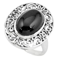 6.32cts natural black onyx 925 sterling silver solitaire ring size 9 p55890