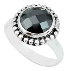 5.38cts natural black onyx 925 sterling silver solitaire ring size 8 p69861