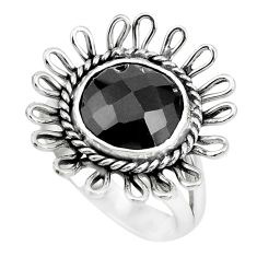 5.52cts natural black onyx 925 sterling silver solitaire ring size 7 p70041