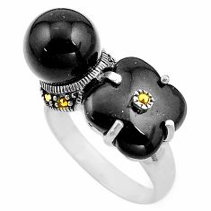 12.62cts natural black onyx marcasite 925 sterling silver ring size 8.5 c4084