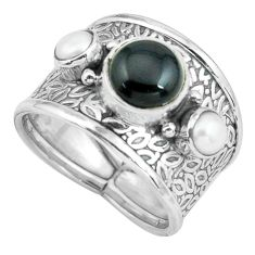5.26cts natural black onyx pearl 925 sterling silver ring jewelry size 8 p68485