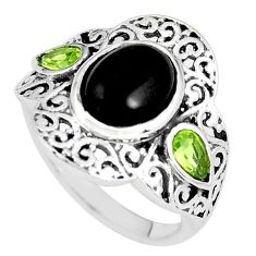 4.69cts natural black onyx peridot 925 silver solitaire ring size 7 p61242